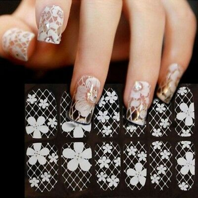 Used, 3D Nail Art Sticker White Lace Flower Decals Manicure DIY Decoration for sale  Pleasanton
