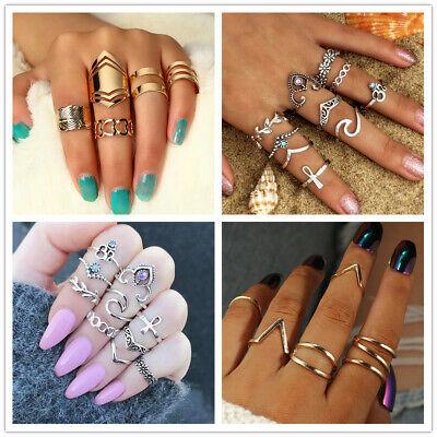 Modeschmuck Ringe Set Ring Goldfarbig silbern mit Steine - Silberne Modeschmuck Ringe