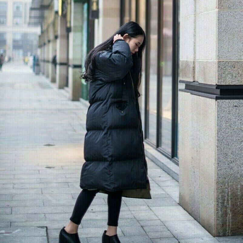 Damen Winterjacke Warme Lackleder Daunenjacke Lange Kapuzenjacke Gesteppt Gepolstert Puffer Dicken Oberschenkell/änge Lederjacke Trenchcoat Frauen Wintermantel Parka B306