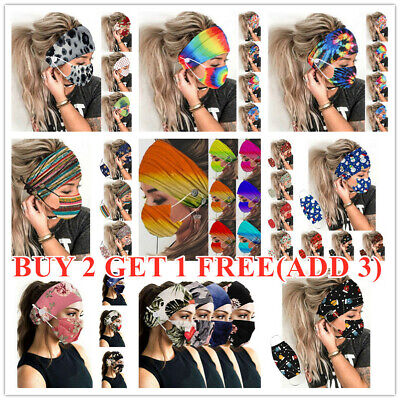 Women Headband + Mask Outdoor Hairband Face Mask Hairband With Buttons new