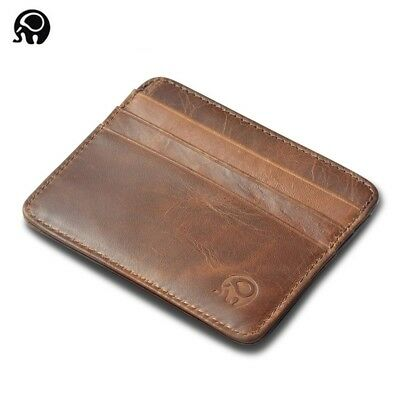 Men's Genuine Leather Thin Wallet ID Money Credit Card Slim Holder Money Pocket