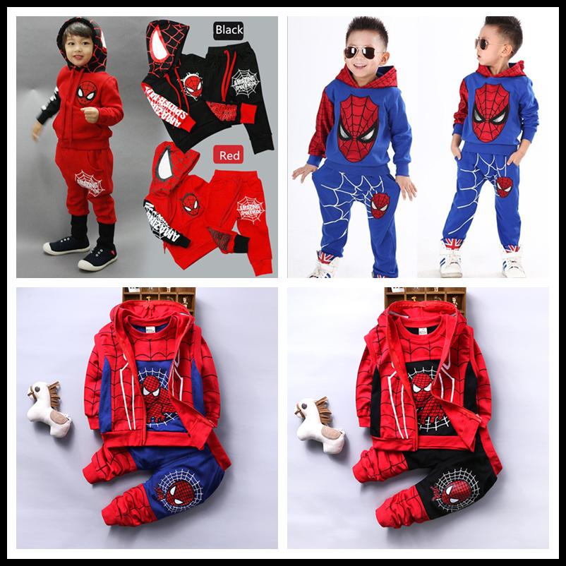 2PCS Baby Boys Long Sleeve Spiderman Hoodies Top Pants Set Kids dress Outfits