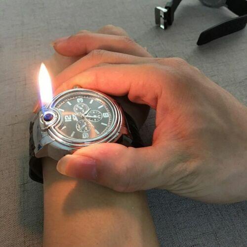 Watch Lighter Men Military Leather Wrist Band Refillable Cigar Cigarette Light