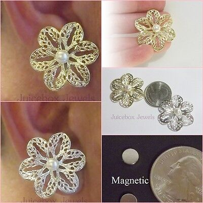 "MAGNETIC 1.25"" Faux White Pearl Filigree Flower Stud Fake Clip Classy Earrings"