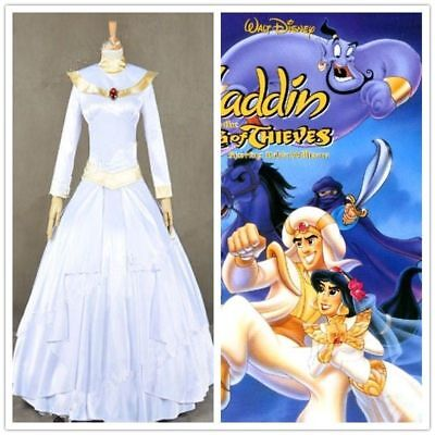 Aladdin And The King Of Thieves Cosplay Costume Jasmine Bridal Gown With Veil HH - Jasmine And Aladdin Costumes