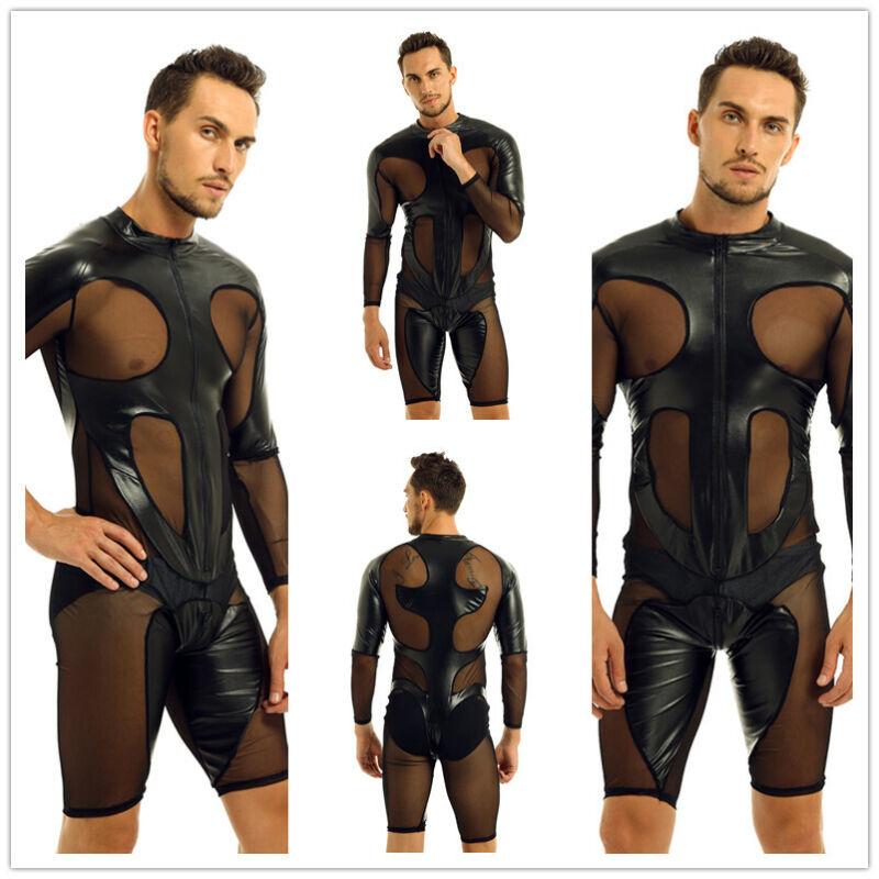 Mens Catsuit Leather Mesh Boxer Shorts Zipper Leotard Bodysuit Costume Jumpsuit