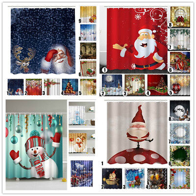Christmas Home Shower Curtain Waterproof Bathroom Xmas Polyester 12 Hooks US (Shower Curtains Hooks)
