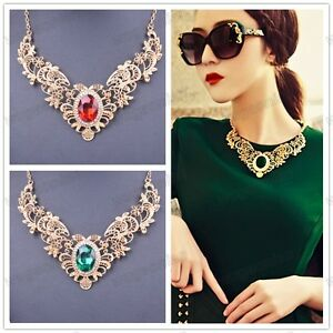 New-Womens-Gold-Plated-Crystal-Hollow-Out-Flower-Pattern-Choker-Bib-Necklace