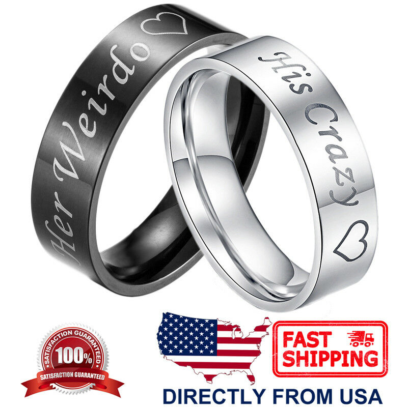 Couple's Matching Ring His Crazy or Her Weirdo Wedding Band for Men or Women Fashion Jewelry