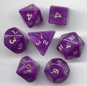 RPG Dice Set of 7 - Pearl Purple D4 D6 D8 D10 D12 D20 D00-90