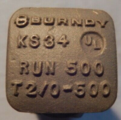 One Burndy Ks34 Split Bolt Connector 20-500mcm Used