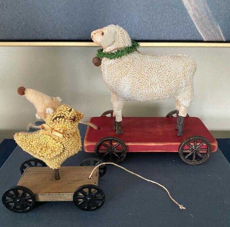 Primitive Punch Needle, Chick & Lamb