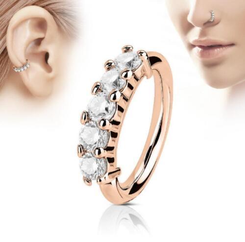 Zircon Rhinestone Piercing Nose Ring Hoop Rook Ear Ring Cartilage Steel  Septum