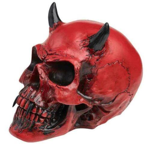 Alchemy Gothic Vermiculus Crimson Red Demon Skull Devil Horns Resin Decor V43
