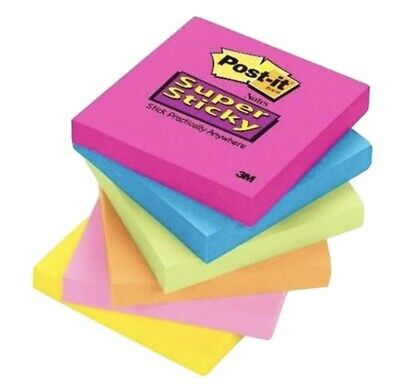 3m Model654-sspk 3 X 3 Super Sticky Post-it Notes 1 Asst Color Pad