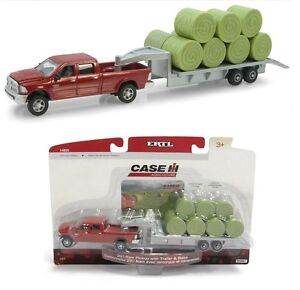 1:64 ERTL Red 2011 Dodge Ram 2500 Pickup Truck 5th Wheel Flatbed Trailer & Bales