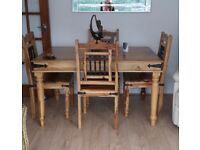 Jali Indian wood dining table and four chairs