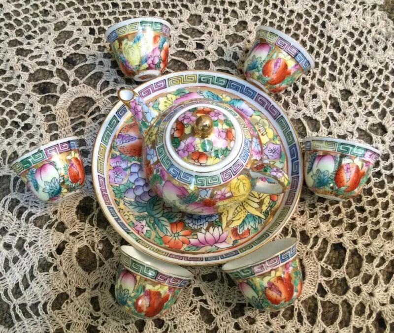 Vintage Chinese Porcelain Hand Painted Tea Set