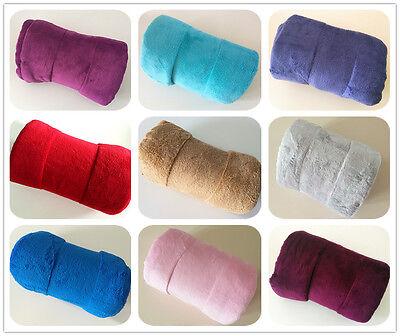 120*180 Micro Coral Plain Fleece Blanket Soft Luxury Warm Home Sofa Bed Throw  ()