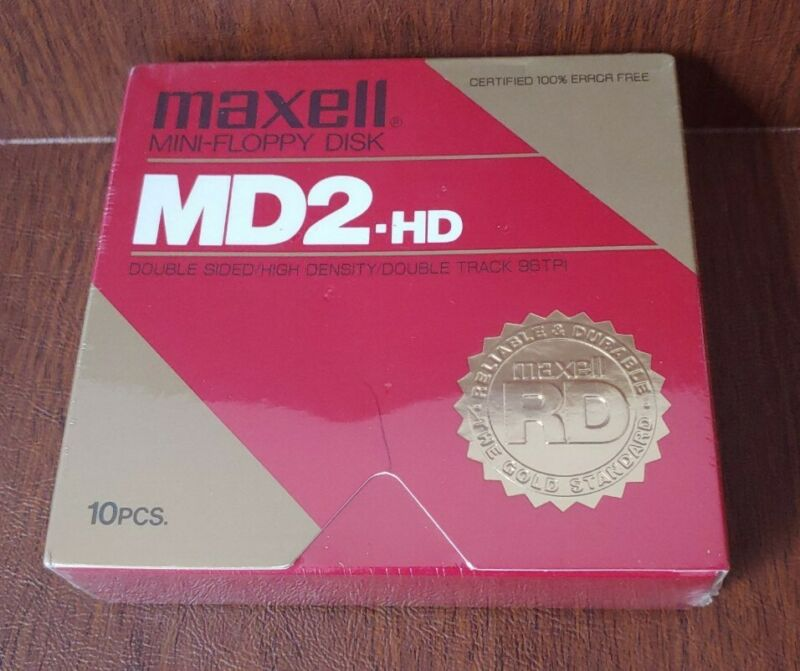 MAXELL MINI-FLOPPY DISK MD2-HD NEW SEALED 10CT BOX
