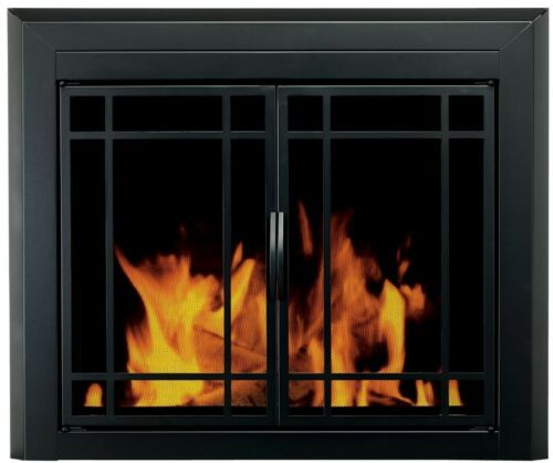 Easton Prairie Cabinet Style Fireplace Screen and 9-Pane Smo