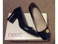Next Ladies Navy Patent 4.5 shoes RRP £32