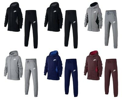 Nike Kids Fleece (Nike Boys Kids Tracksuit Fleece Jogging Bottoms Full Zip Cotton Hoodie Jacket)