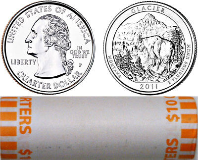2011 P Glacier National Parks Atb Quarter 40 Coin Roll Original Bank Wrap