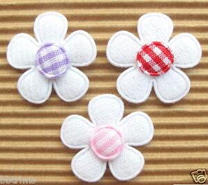 US-SELLER-60-x-1-Mix-Padded-Felt-Spring-Flower-Appliques-w-Gingham-ST526