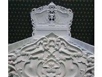 Rococo ornate vintage chic white single bed
