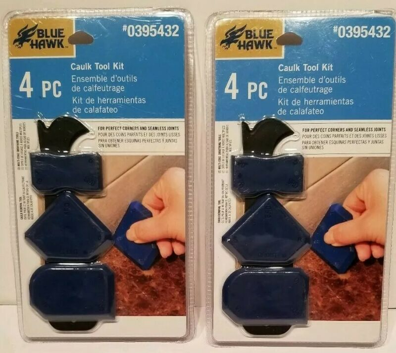 2 packs new Blue Hawk 4-Pack Caulk Tool Kit for Corners and Seamless Joints