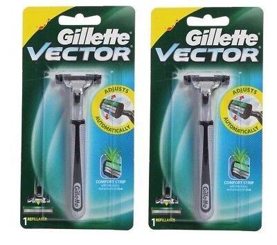 2 GILLETTE Vector Razor BLADES Cartridges Fits -Same as Atra Plus Shaver Refills Atra Plus Refill Cartridges