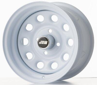 """7.0x13"""" Pepperpot 4x101. White Steel Wheels (x4) Classic Mini"""