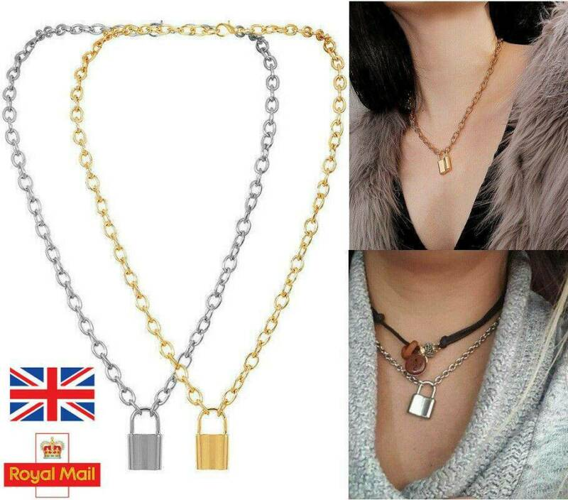 Jewellery - NEW Lock Pendant Padlock Charm Necklace Chain Women Ladies Jewelry Gift UK