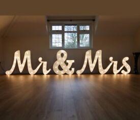 Gorgeous italic Mr & Mrs lights