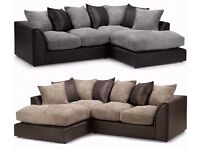 Fabric Left and Right Arm Corner Sofa Black in Grey/Brown and Beige Colors - Stylish Aruba Italian