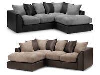 💖🔥💖💥BLACK GREY OR BROWN BEIGE❤💖❤New Jumbo Cord 'Double Padded' Byron Corner Or 3+2 Leather Sofa