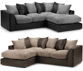 🔥💗🔥PICK ANY COLOR OR DESIGN🔥🔥New Dylan Byron Jumbo Cord Double Padded Corner or 3+2 Seater Sofa