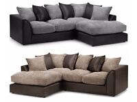❤Black/Grey Or Brown/Beige❤ New Byron Jumbo Cord + Leather Sofa. Avlble in Corner or 3 and 2 Seater