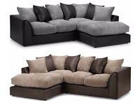 ❋★❋ New Byron Left / Right Hand Corner ❋★❋ Or 3+2 Sofa In Brown Cream Black &Grey Fabric Sofa