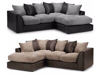 💖💖Cheapest Price Ever💖💖Brand New Italian Byron Jumbo Cord + Leather Sofa💖Corner or 3 + 2 Seater