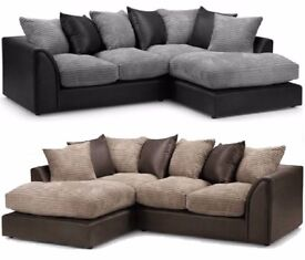 💖🔥💥💖GREY BLACK or BROWN BEIGE💖💥💖New Jumbo Cord Double Padded Byron Corner Or 3+2 Leather Sofa
