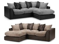 **Black Grey Mix or Single Colour** Brand New Byron Jumbo Cord Double Padded Corner or 3 and 2 sofa