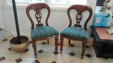 1850's Antique English Mahogany &Fabric Kitchen,Dining Chairs