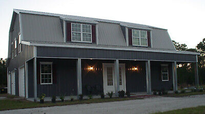 Steel Metal Home Gambrel Building Shell Kit 3500 Sq Ft Front Porch
