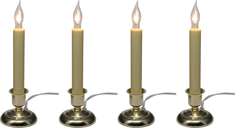 Electric Candle for Window with Steady Lighting- Brass Painted Finish (Pack of 4