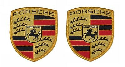 Pair Of New Genuine Porsche Fabric Sew On Coloured Crest - Seats Overalls Coat