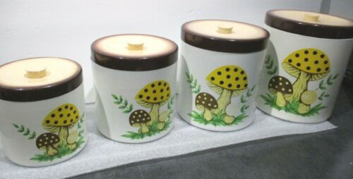 Sears Roebuck and Co.1976 Vintage Japan Merry Mushroom Metal Kitchen Canisters