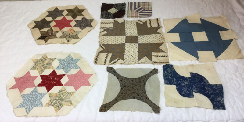 Eight Antique Vintage Patchwork Quilt Blocks, Early 1900's, Bow Tie, Stars, Vary
