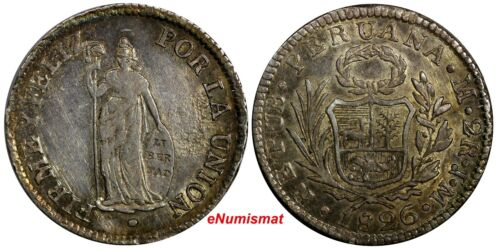 PERU Silver 1826 LIMA JM 2 Reales Lima Mint aUNC Toning KM# 141.1